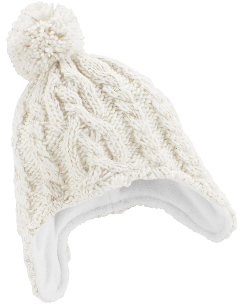 Girls Knitted Trapper Style Pom Pom Winter Hat 4-6 Years /& 6-8 Years