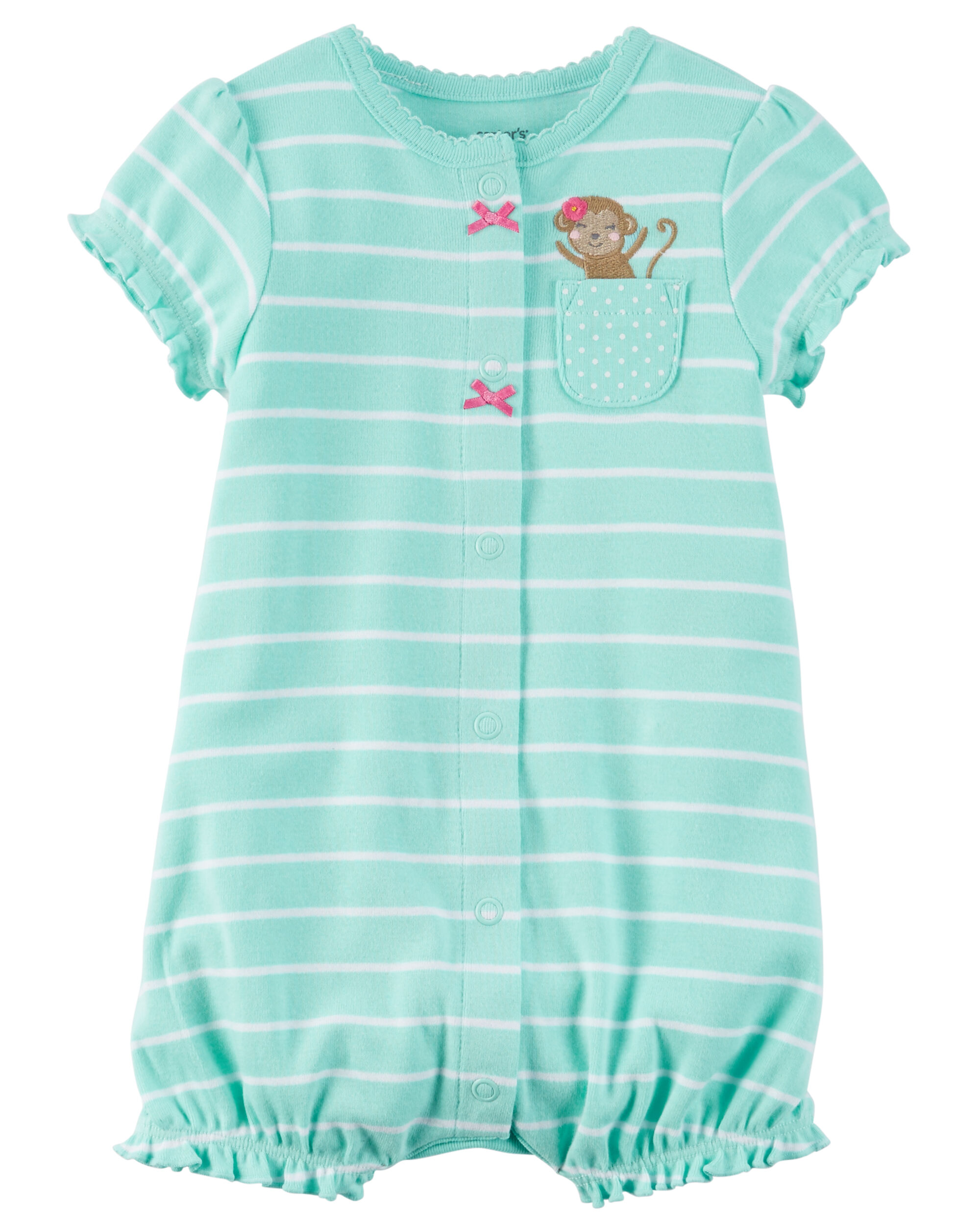 Baby Girl Snap Up Cotton Romper
