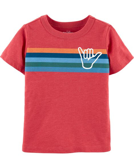 Striped Surf's Up Jersey Tee