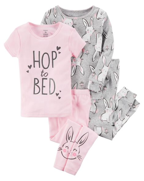 11e8acdcf Baby Girl 4-Piece Bunny Snug Fit Cotton PJs