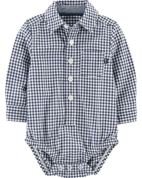 adefbf5a4 Button-Front Gingham Bodysuit | OshKosh.com