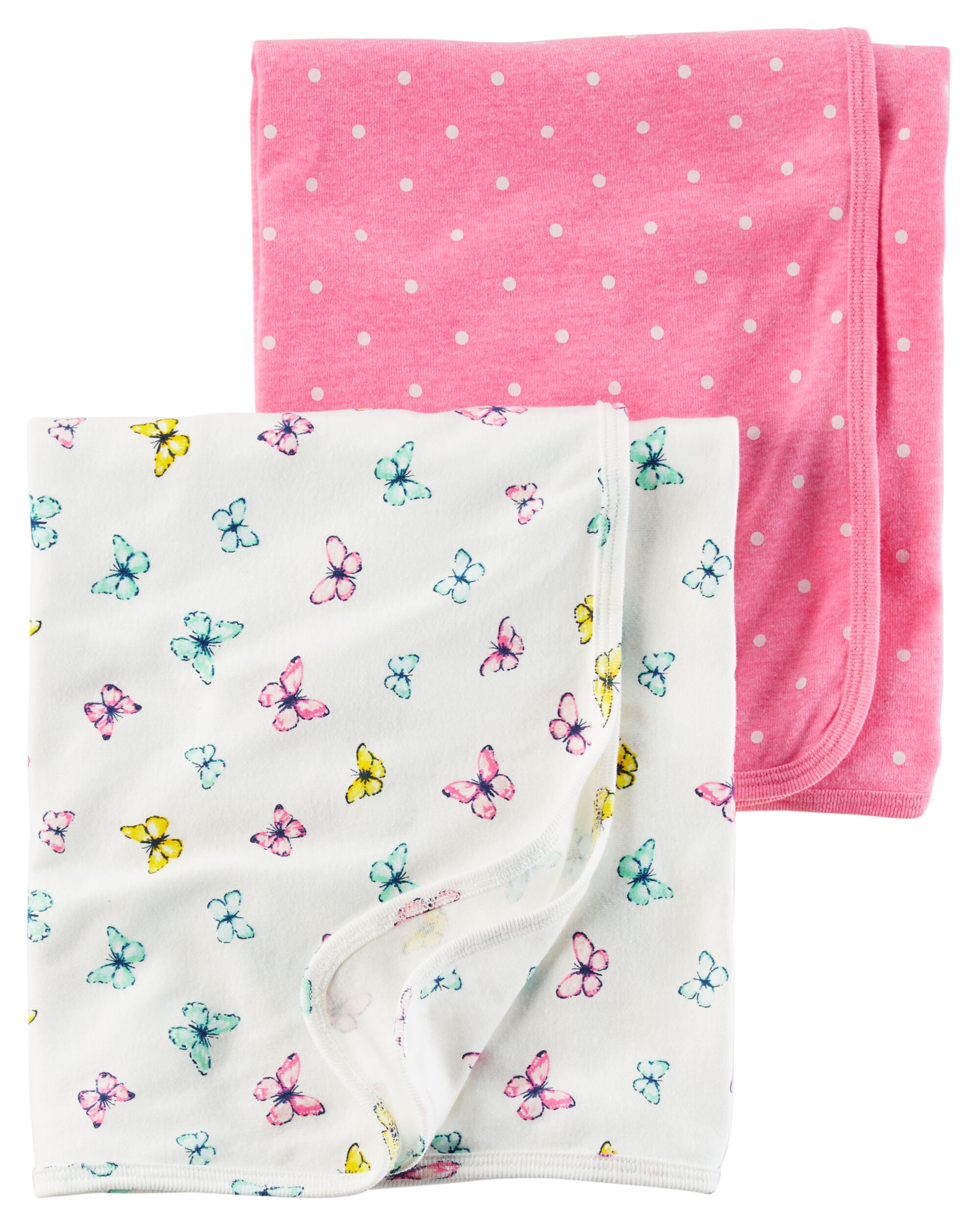 Baby Girl 2 Pack Babysoft Neon Swaddle Blankets Carters