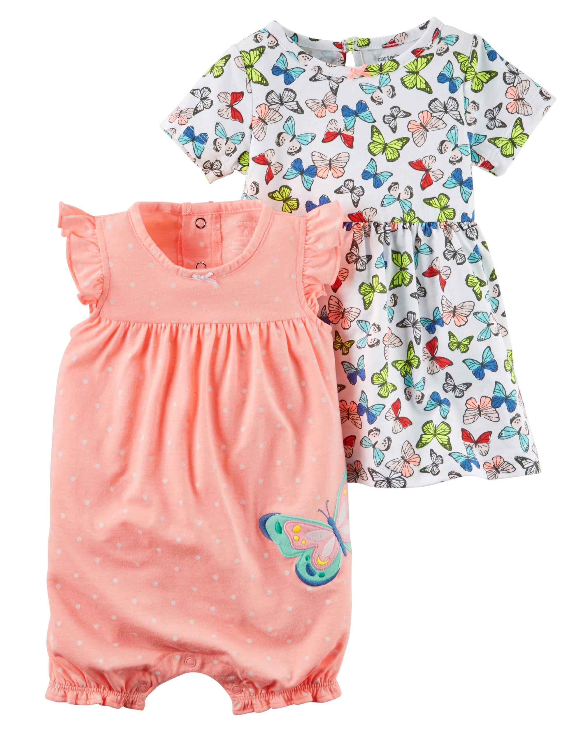 Baby Girl 2 Piece Dress & Romper Set