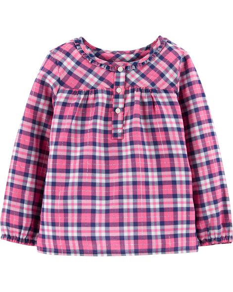 Shimmer Plaid Top