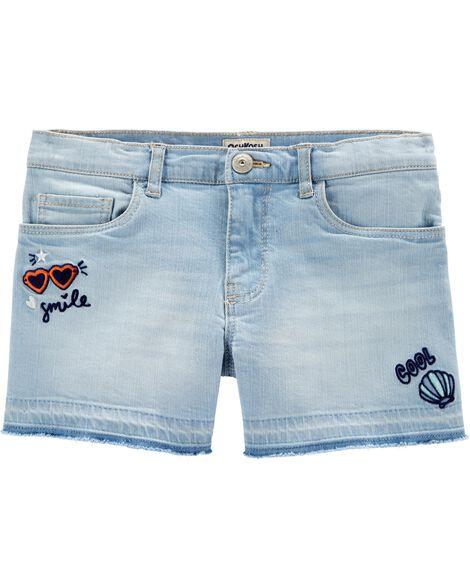 Patch Stretch Denim Shorts