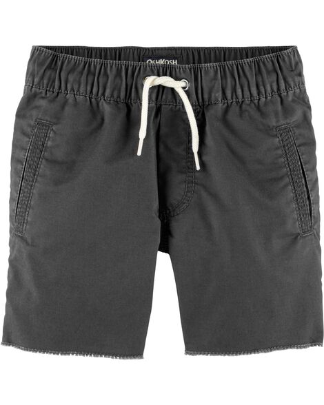 Pull-On Raw Hem Shorts