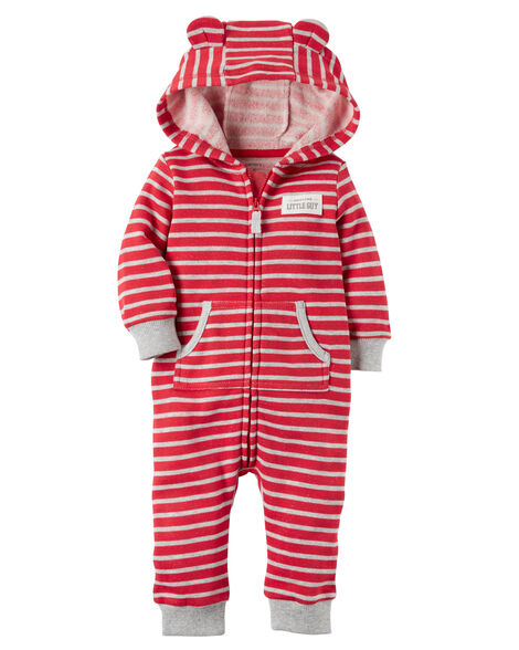 a8f16c2bbcd8 Baby Boy Hooded Brushed Fleece Jumpsuit