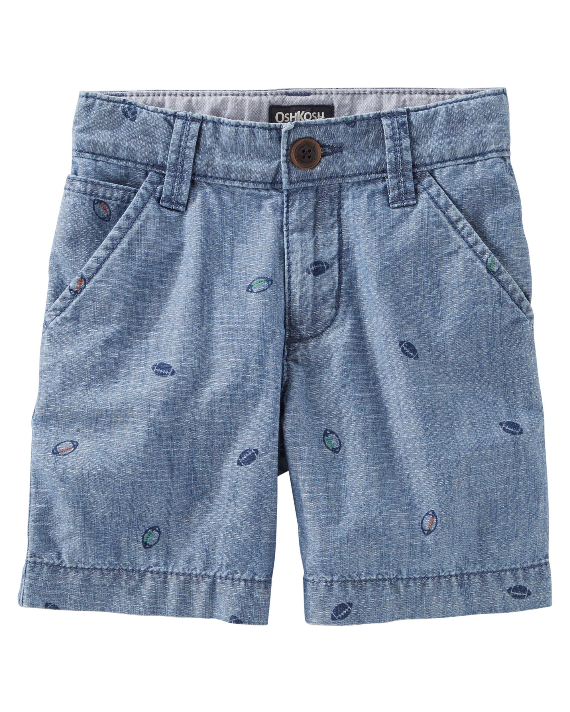 Football Print Chambray Flat-Front Shorts