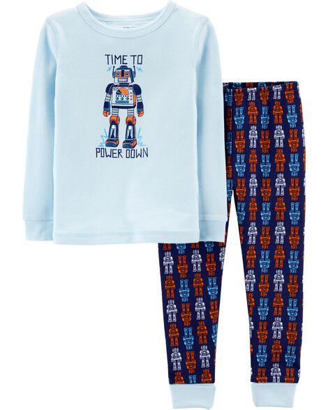 Snug Fit Robot Cotton PJs