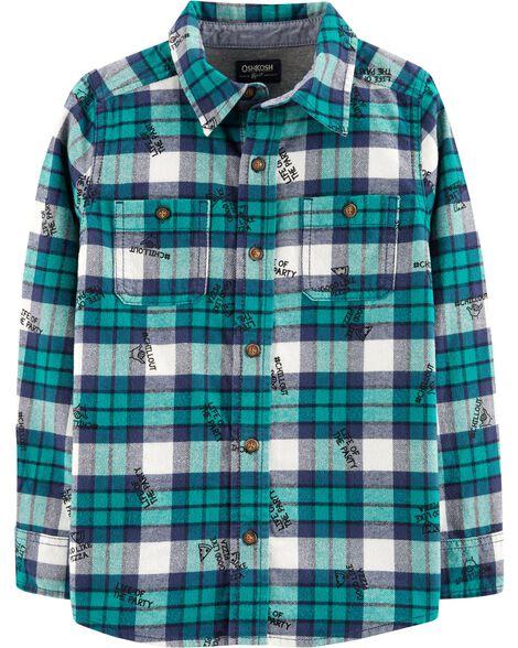Button-Front Flannel Shirt