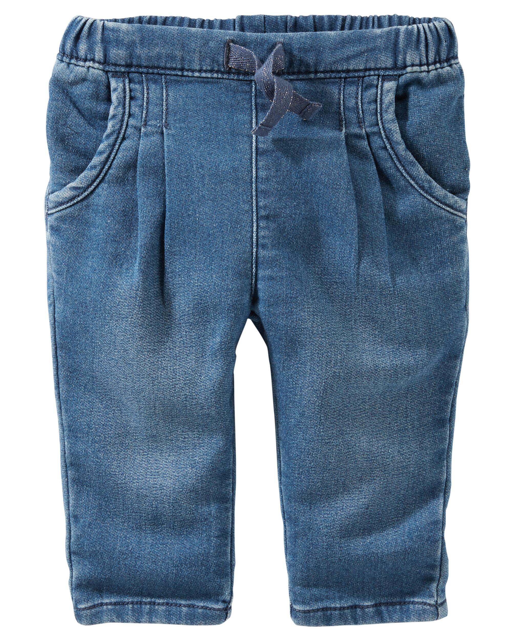 Pull-On Knit-like Denim Pants