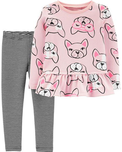 9e6a5acce Toddler Girl 2-Piece French Bulldog Ruffle Top   Striped Legging Set ...