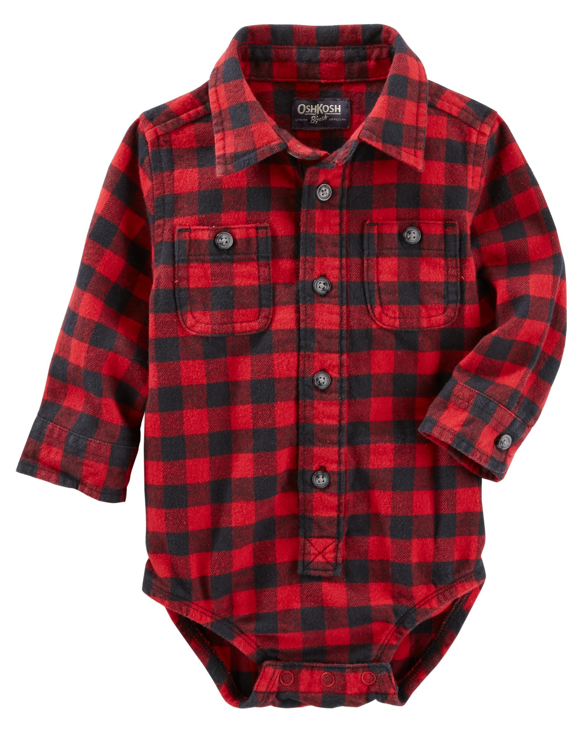 18M 24M NEW OSH KOSH TODDLER BOY RED PLAID DRESSY BODYSUIT LONG SLEEVE 12M