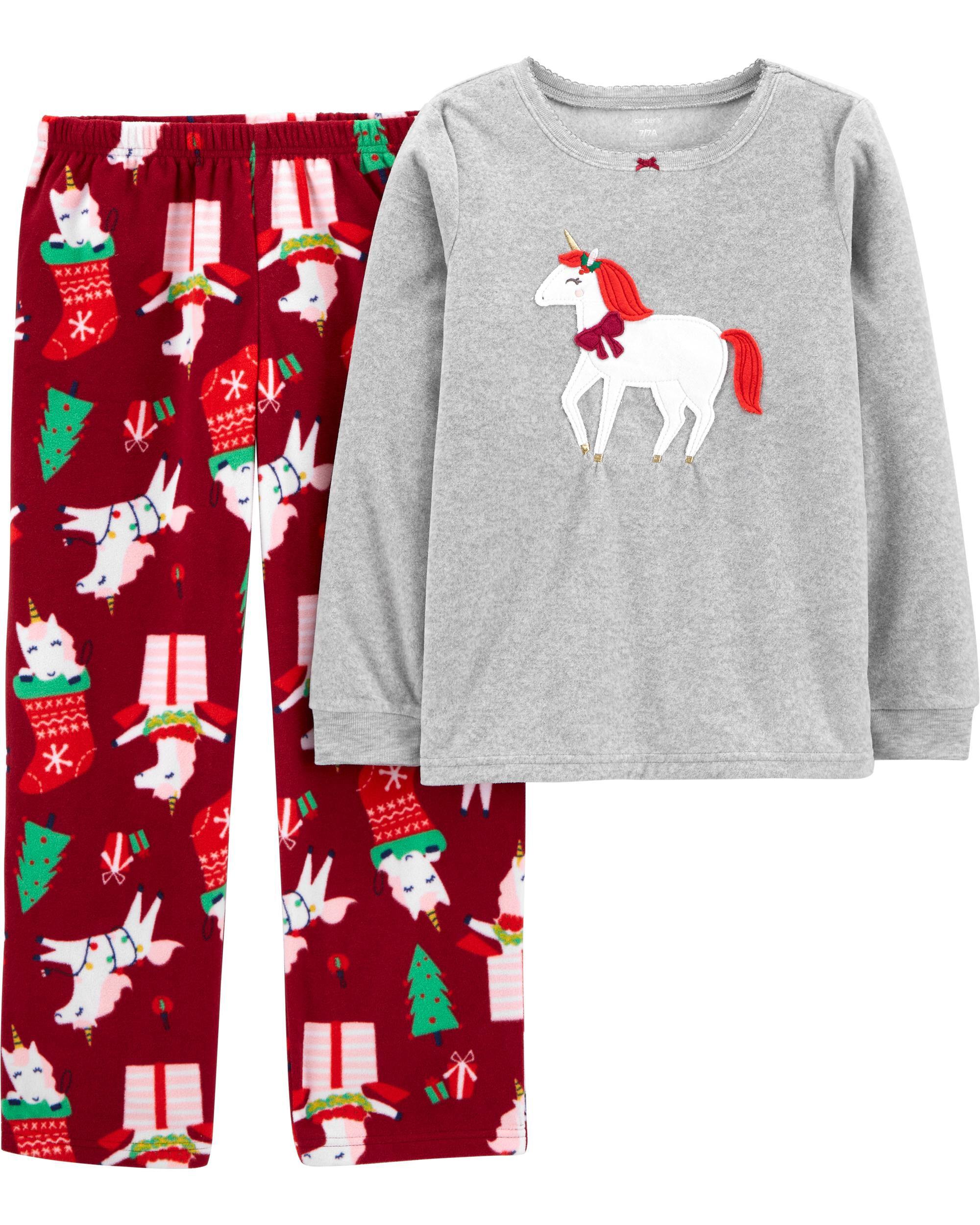 2-Piece Unicorn Christmas Fleece PJs