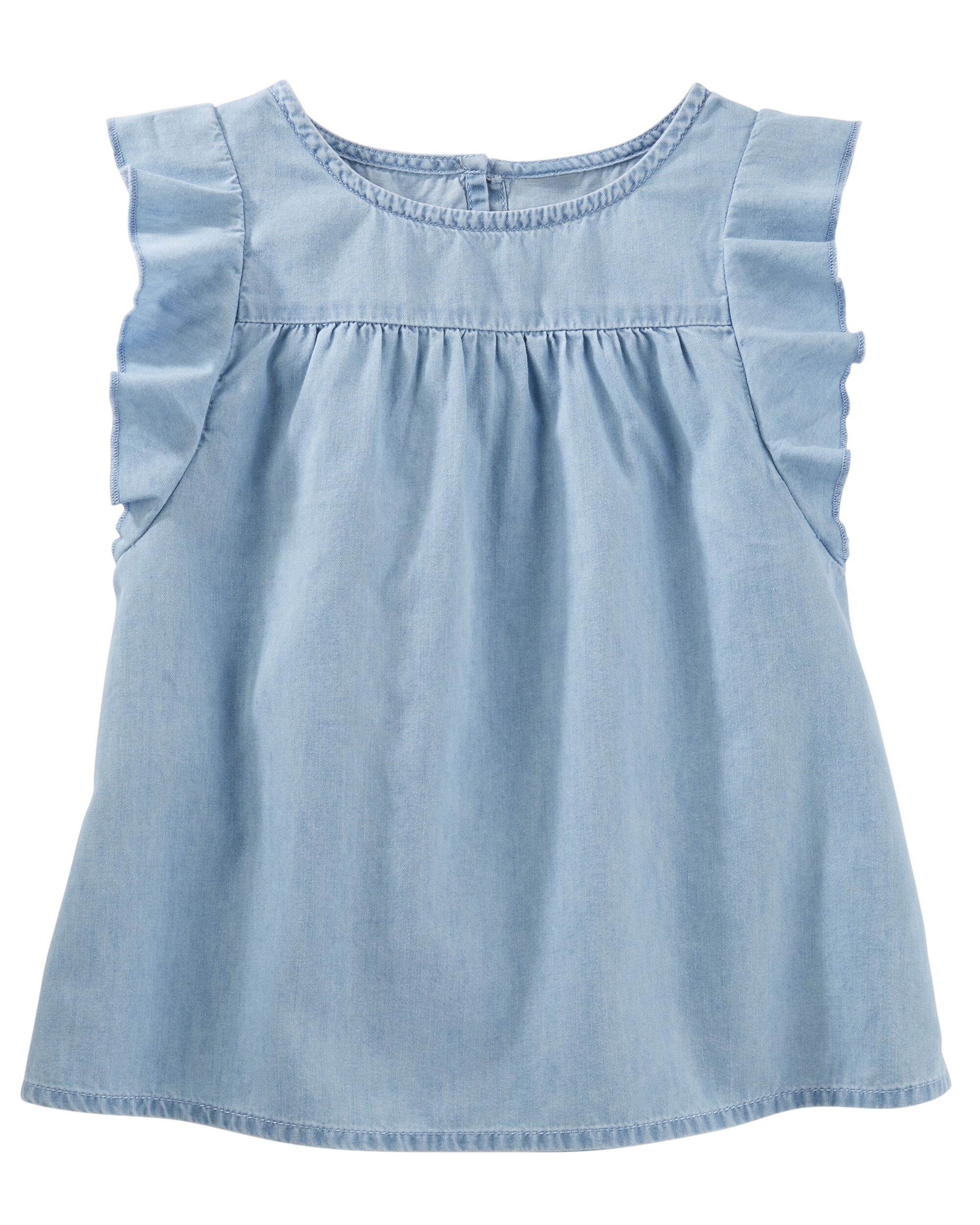 Flutter Sleeve Chambray Top