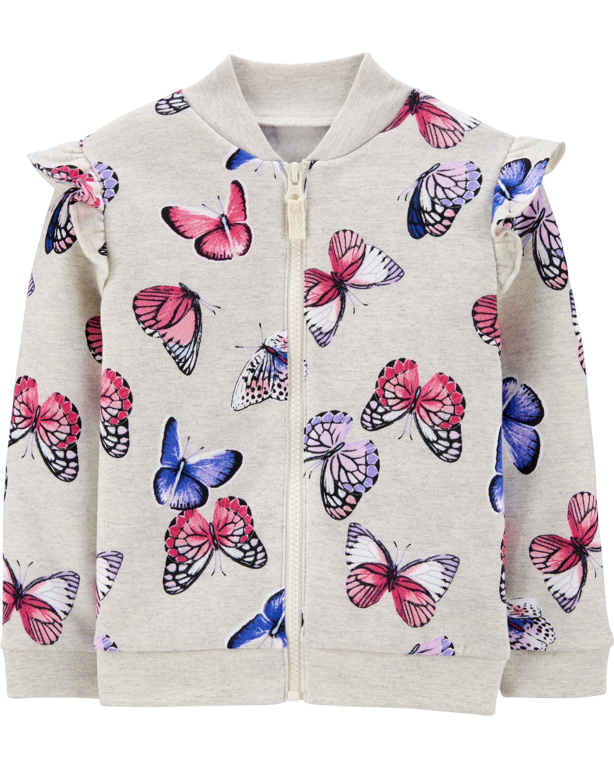 *CLEARANCE*Butterfly Zip-Up Fleece Jacket