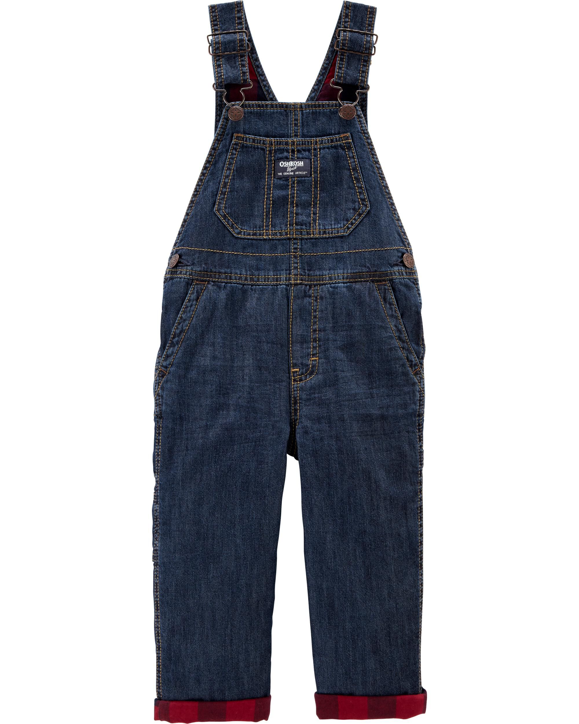 New OshKosh Girls Blue Jean Denim Star Buffalo Lined Cuff Overalls 12 24 3 4 5T