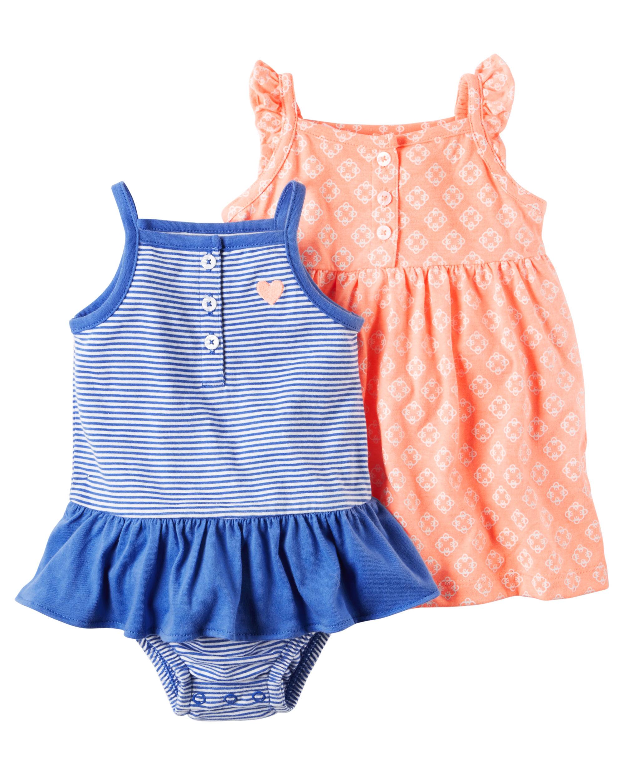 Baby Girl 2 Pack Neon Dress & Sunsuit Set