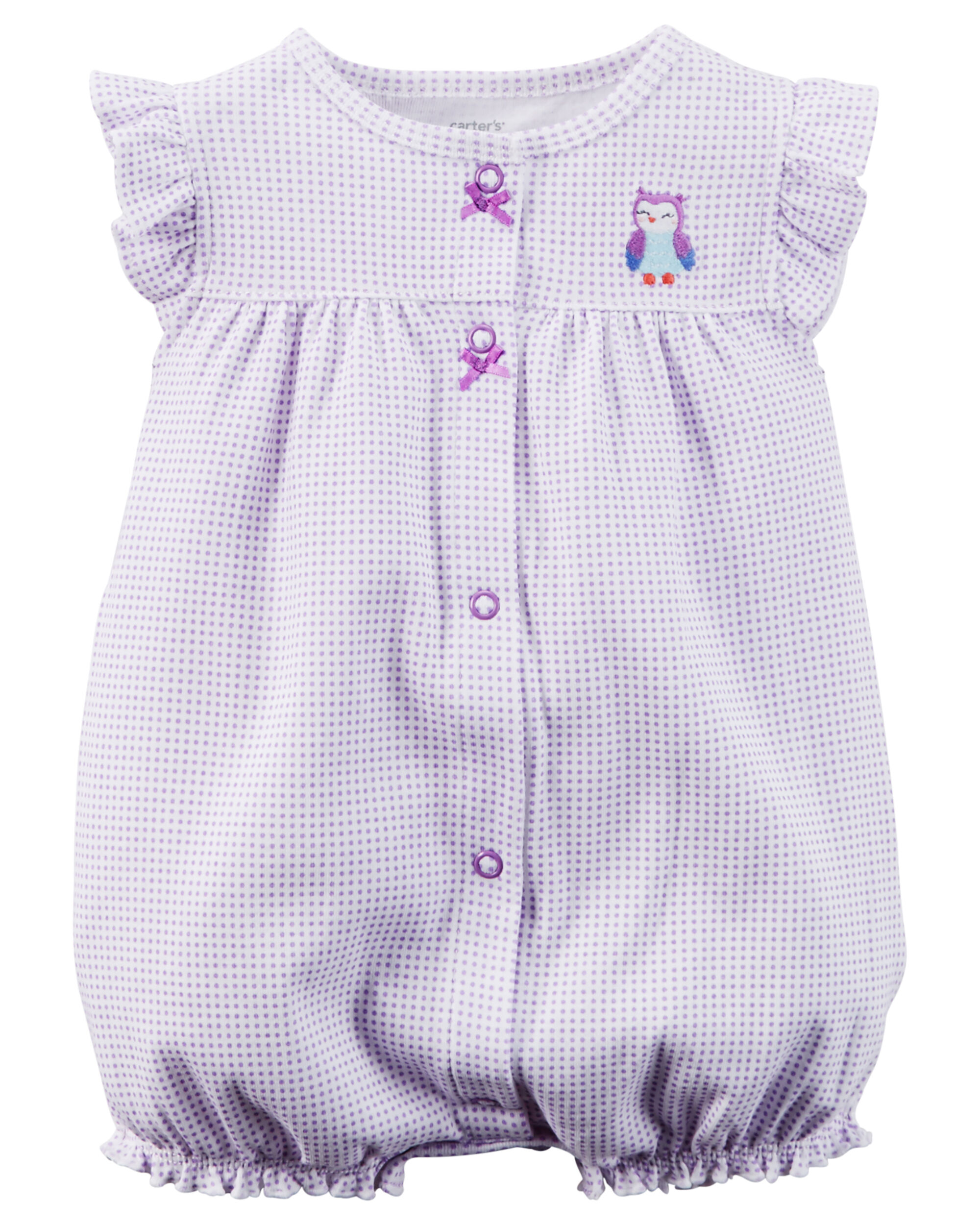 Baby Girl Snap Up Appliqué Cotton Romper