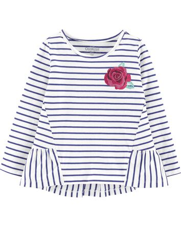 Striped Rose Ruffle Hem Top