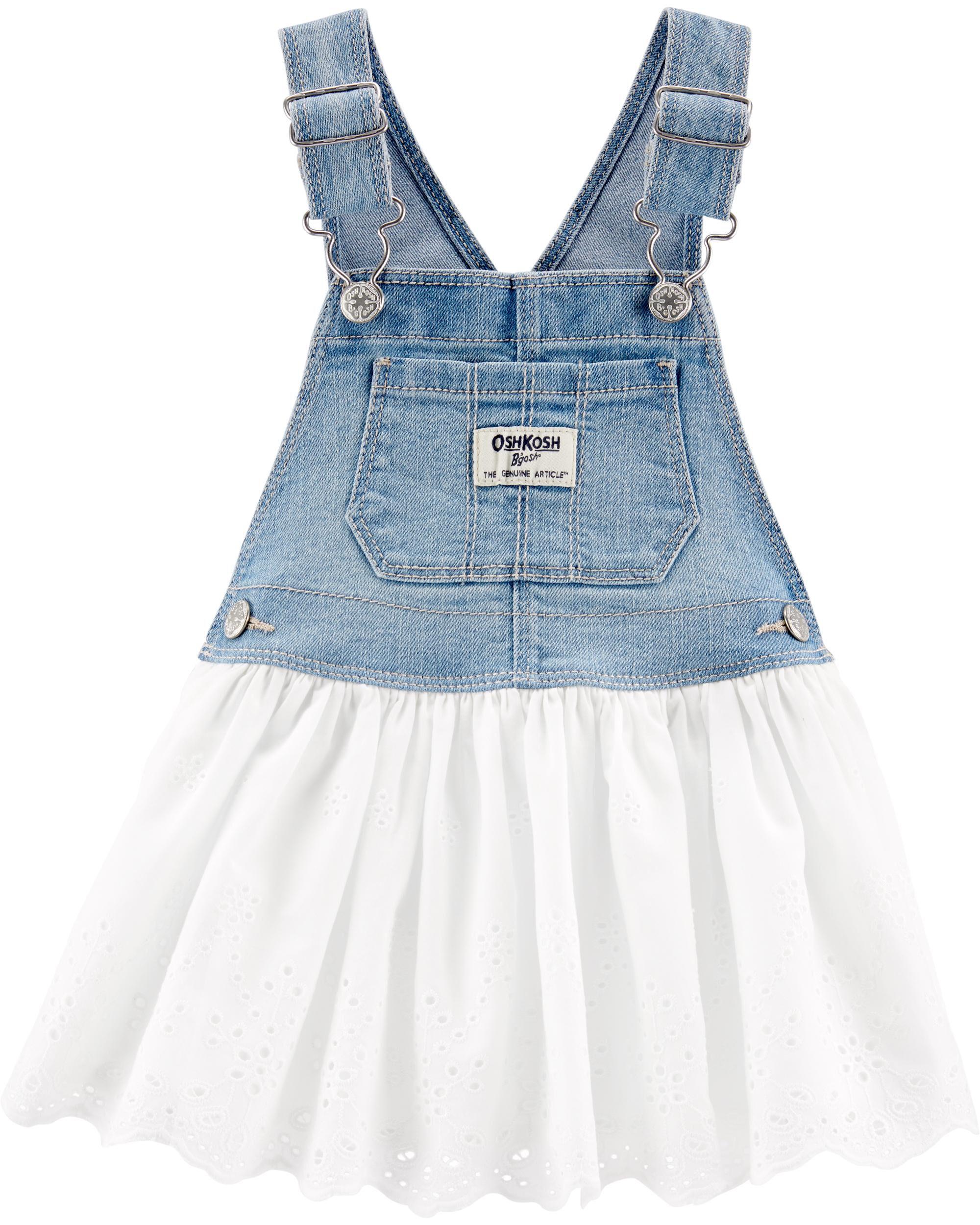 New OshKosh Girls Dress Ivory Sparkle Tulle Skirt Overalls NWT 18 24m 2 3 4 5T