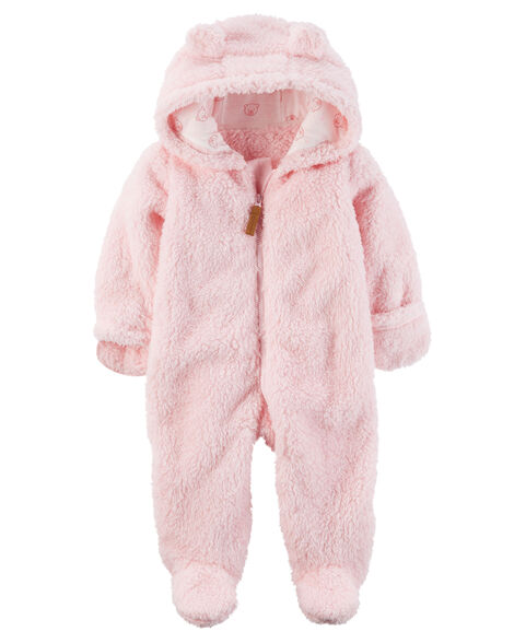 600a6e0af Baby Girl Hooded Sherpa Bunting