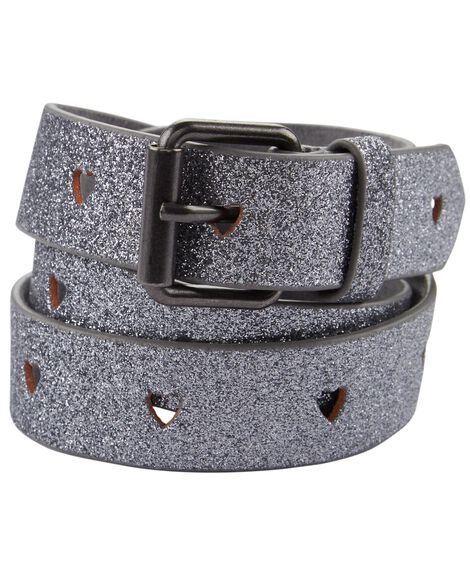 Silver Glitter Perforated Heart Belt