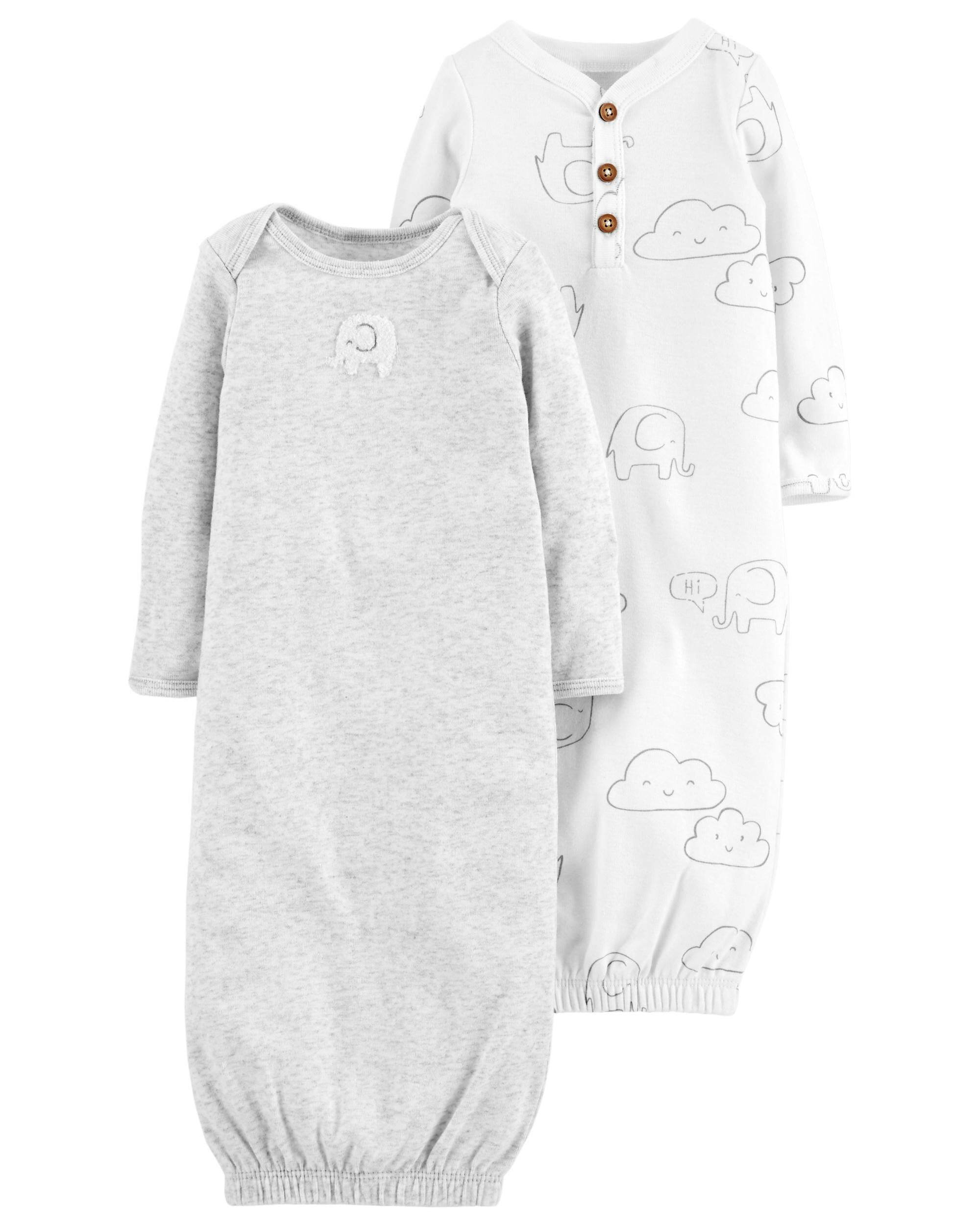 Baby Girl 2-Pack Babysoft Sleeper Gowns | Carters.com