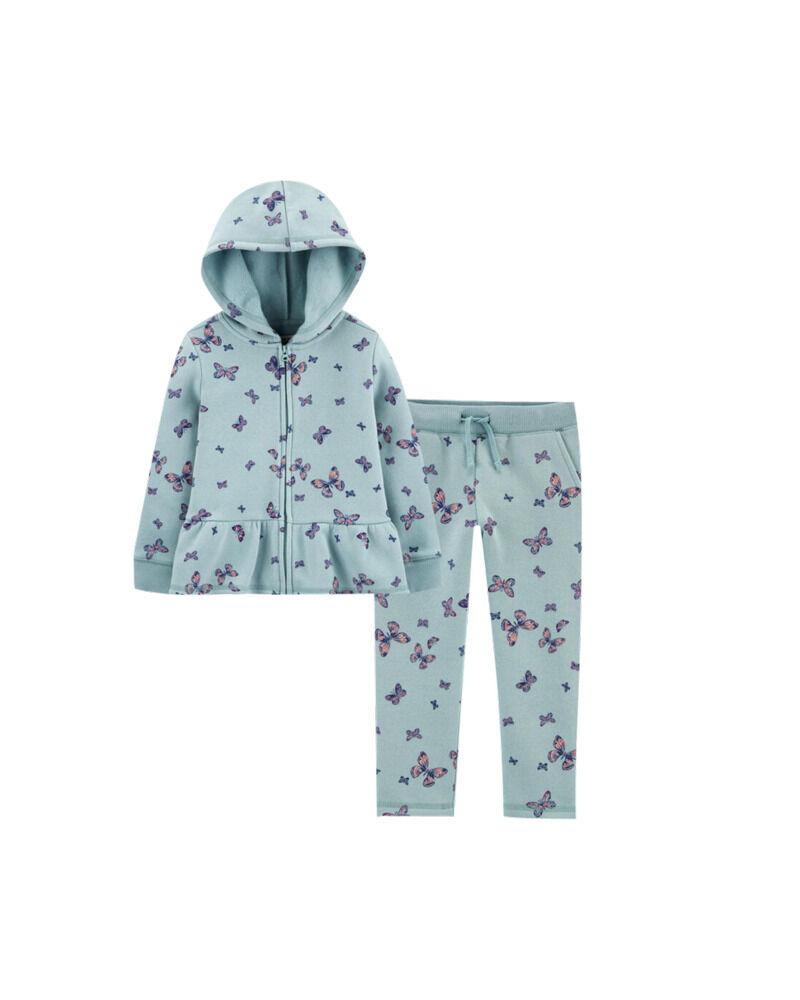 Peplum Hem Butterfly Hoodie & Logo Fleece Pants