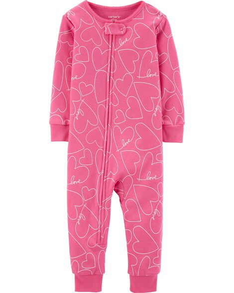 2a7d84ba7 Baby Girl 1-Piece Hearts Snug Fit Cotton Footless PJs