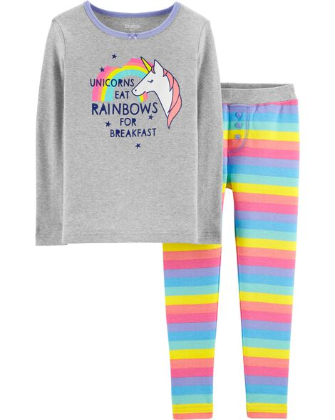 Snug Fit Rainbow Unicorn Cotton PJs