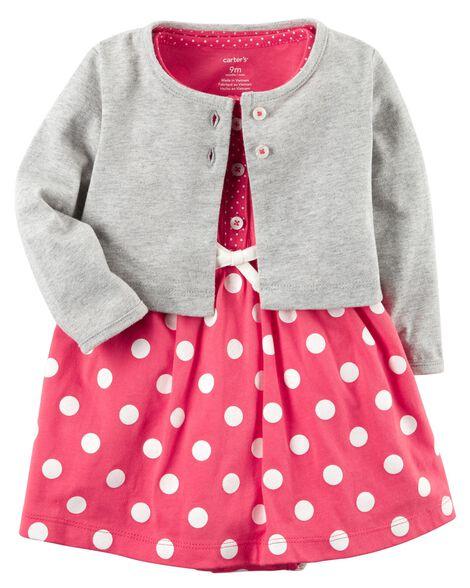 cd5f876f991f Baby Girl 2-Piece Bodysuit Dress   Cardigan Set