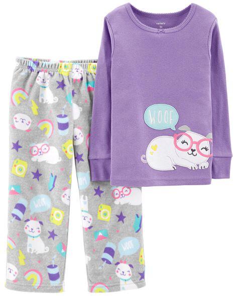 69c6c4221 Baby Girl 2-Piece Dog Snug Fit Cotton   Fleece PJs