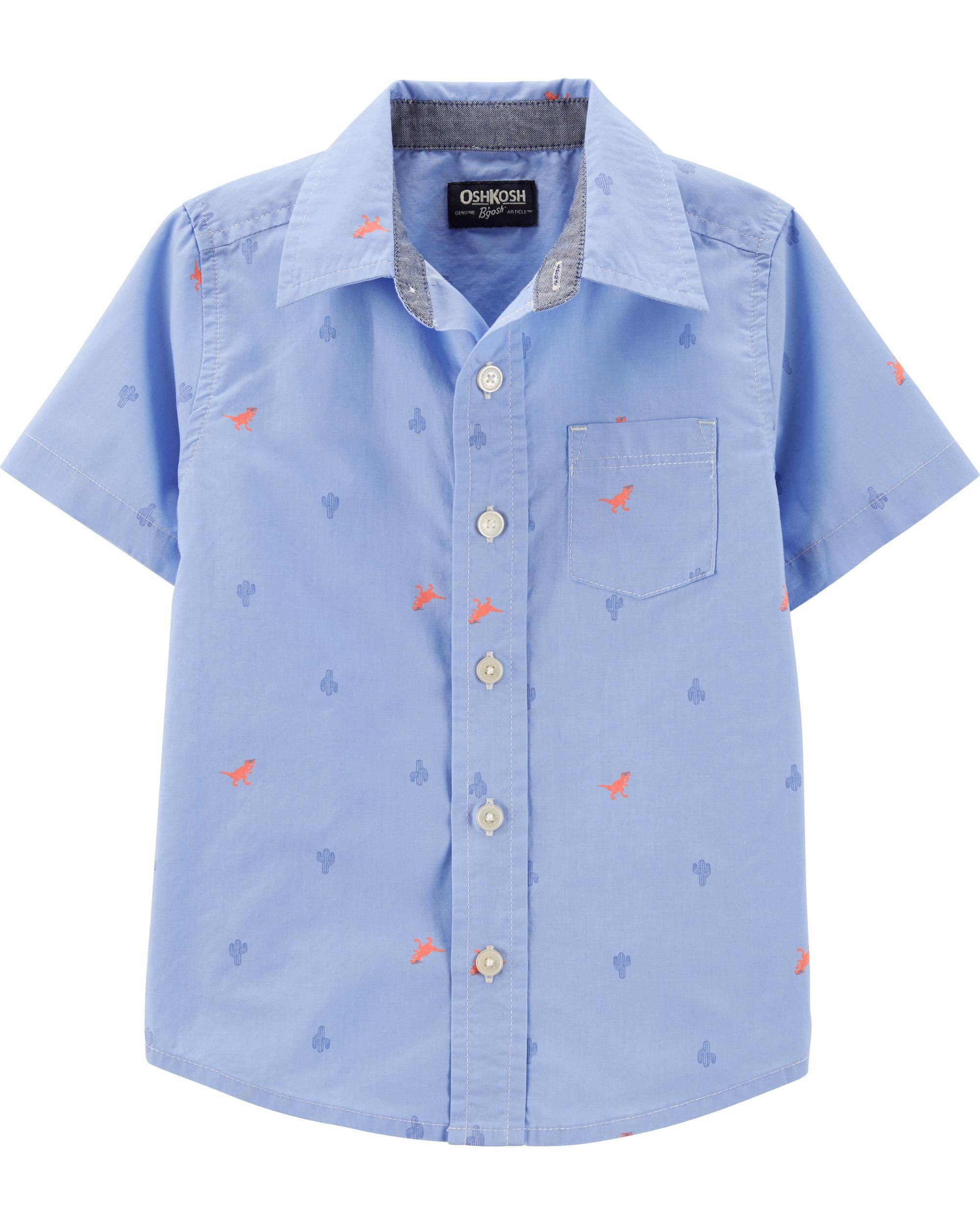 059254531 Button-Front Dinosaur Shirt | OshKosh.com