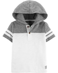 260b50ad73b Short Sleeve Hooded Henley Pullover