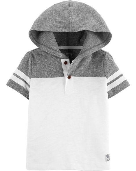 Short Sleeve Hooded Henley Pullover