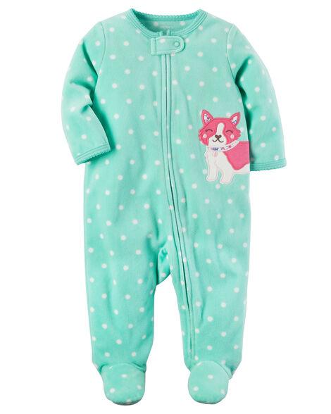 25bf6086b68a Baby Girl Fox Zip-Up Fleece Sleep   Play