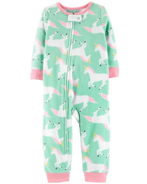 d160822f5c8a 1-Piece Unicorn Fleece Footless PJs