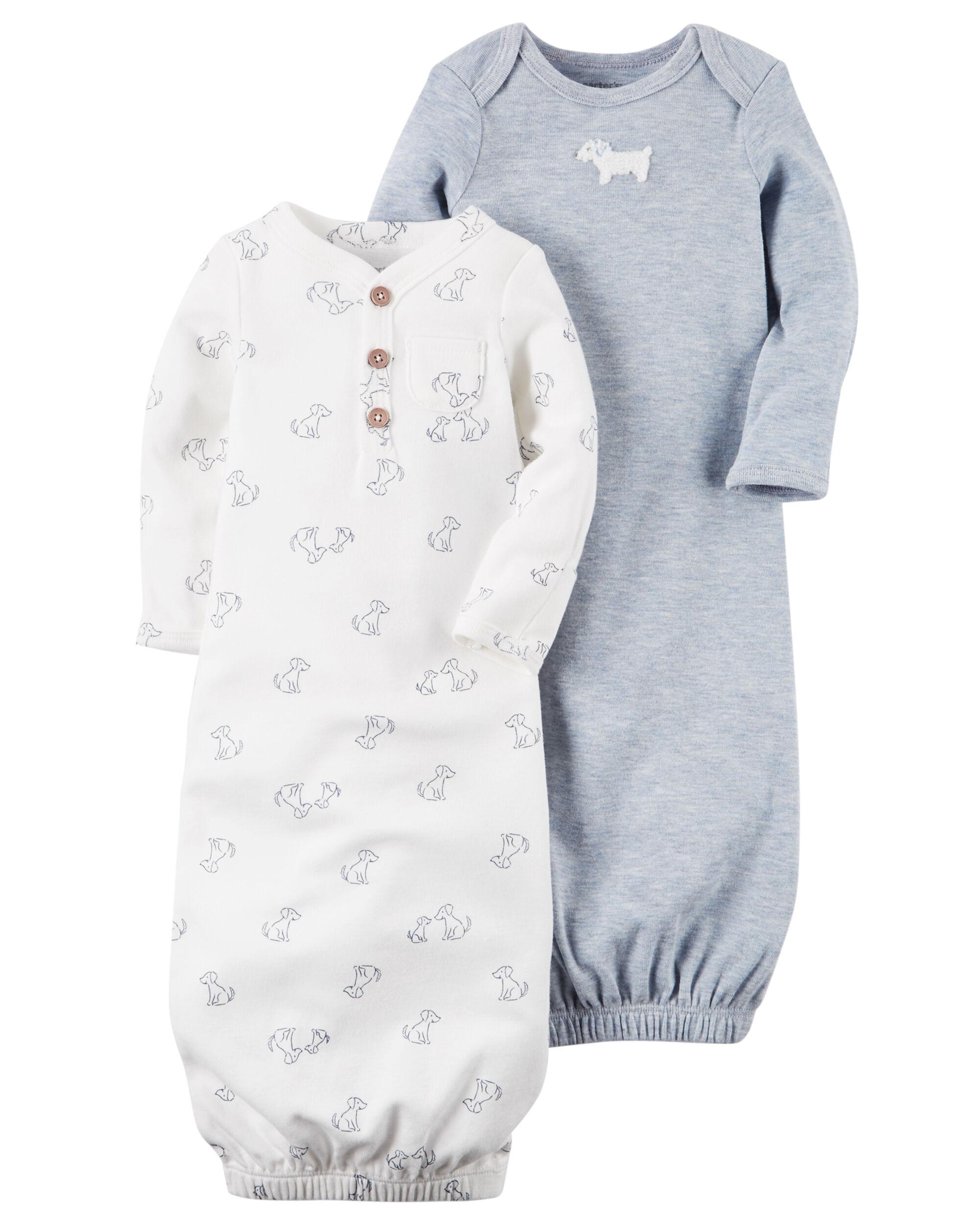 Carters Baby Girls 2-Pack Babysoft Sleeper Gowns