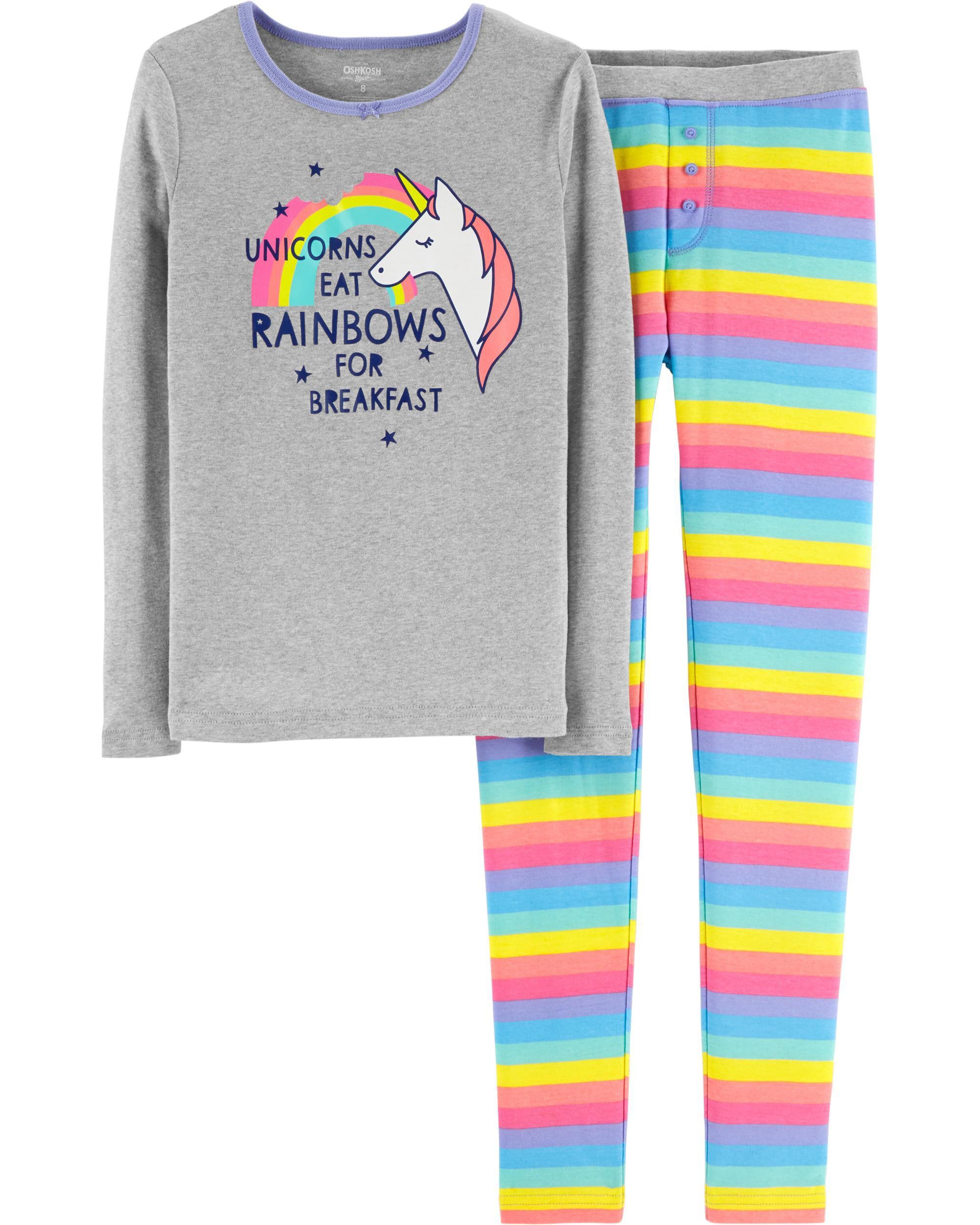 f1717e6ef9f2 Snug Fit Rainbow Unicorn Cotton PJs