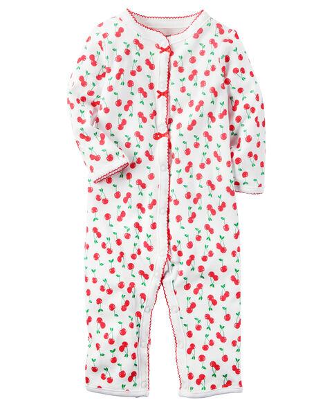 21b5c106cfdb Baby Girl Cotton Snap-Up Footless Sleep   Play