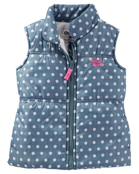 86e69f5ac1a2 OshKosh Polka Dot Puffer Vest