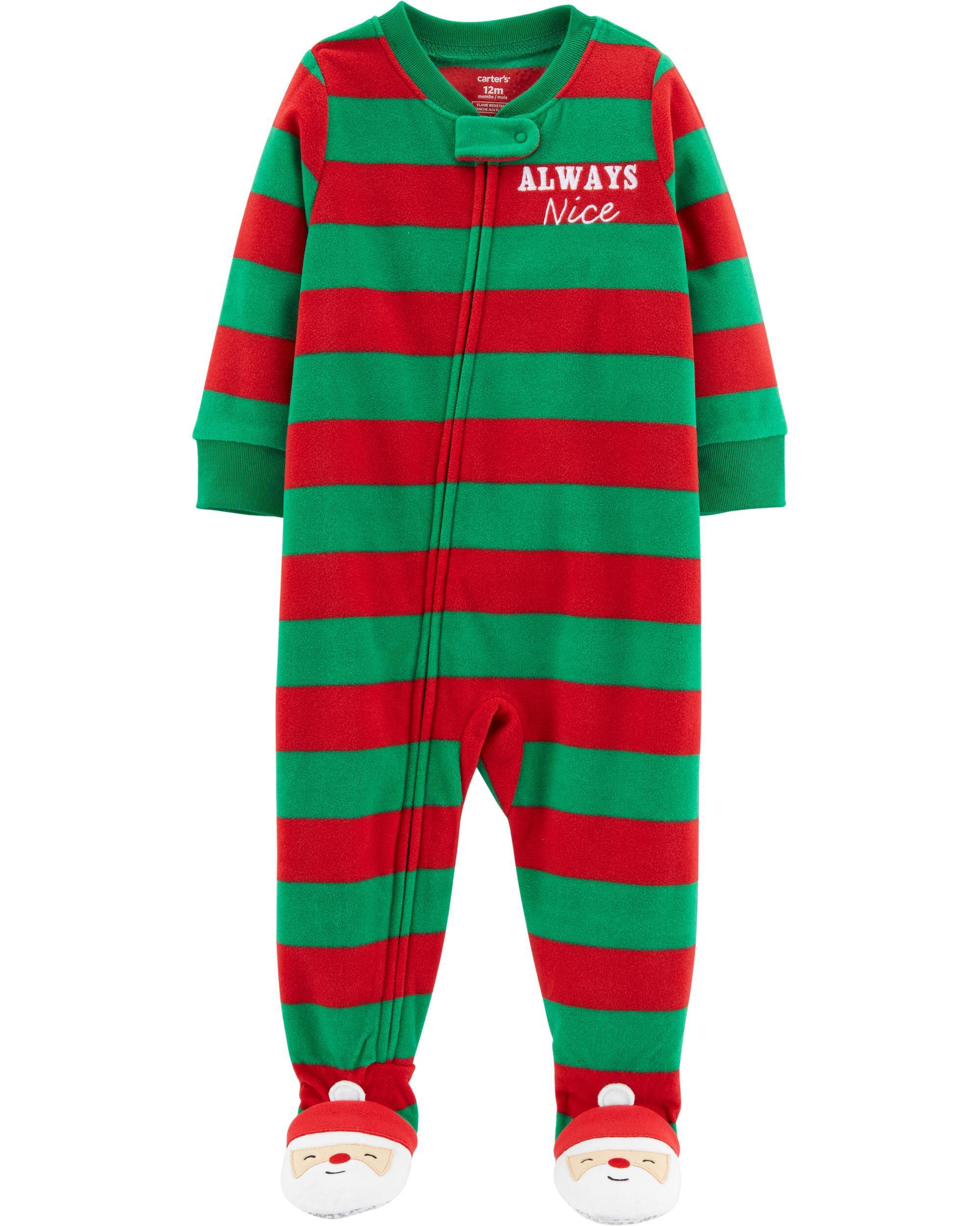7e7b47dfd141 Baby Boy 1-Piece Toddler Christmas Fleece PJs
