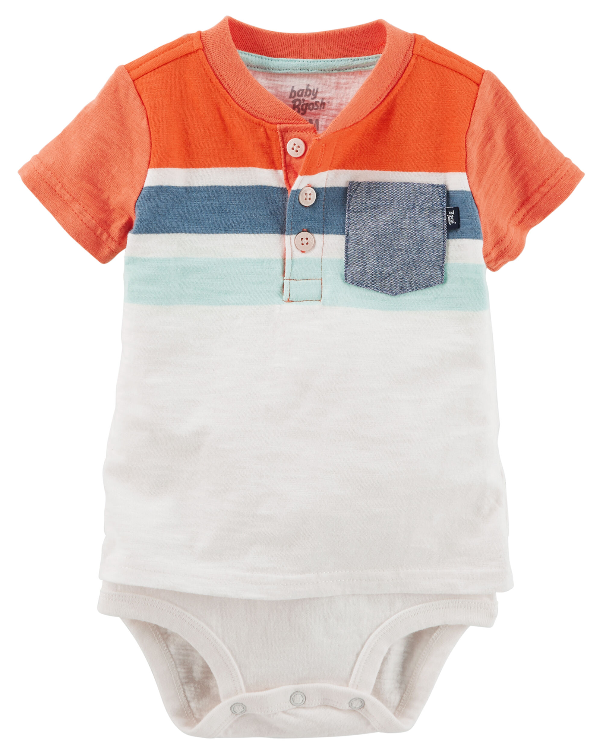 797a7a3d0a71 Double-Decker Striped Pocket Henley Bodysuit