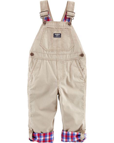 Plaid-Lined Overalls