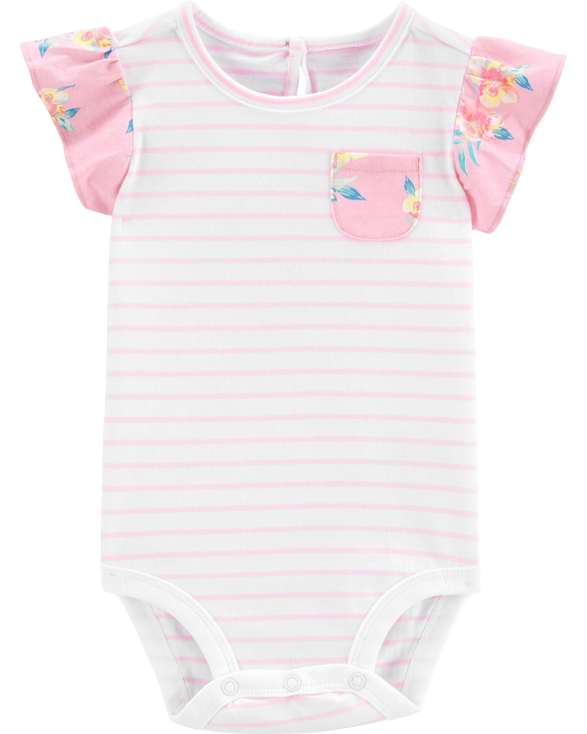 Baby Girl long Sleeve T Shirt in Pale Pink and Cream Stripe