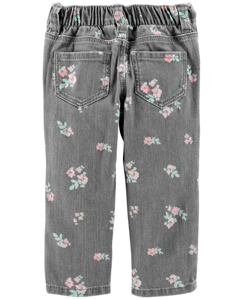 Floral Pull-On Jeans