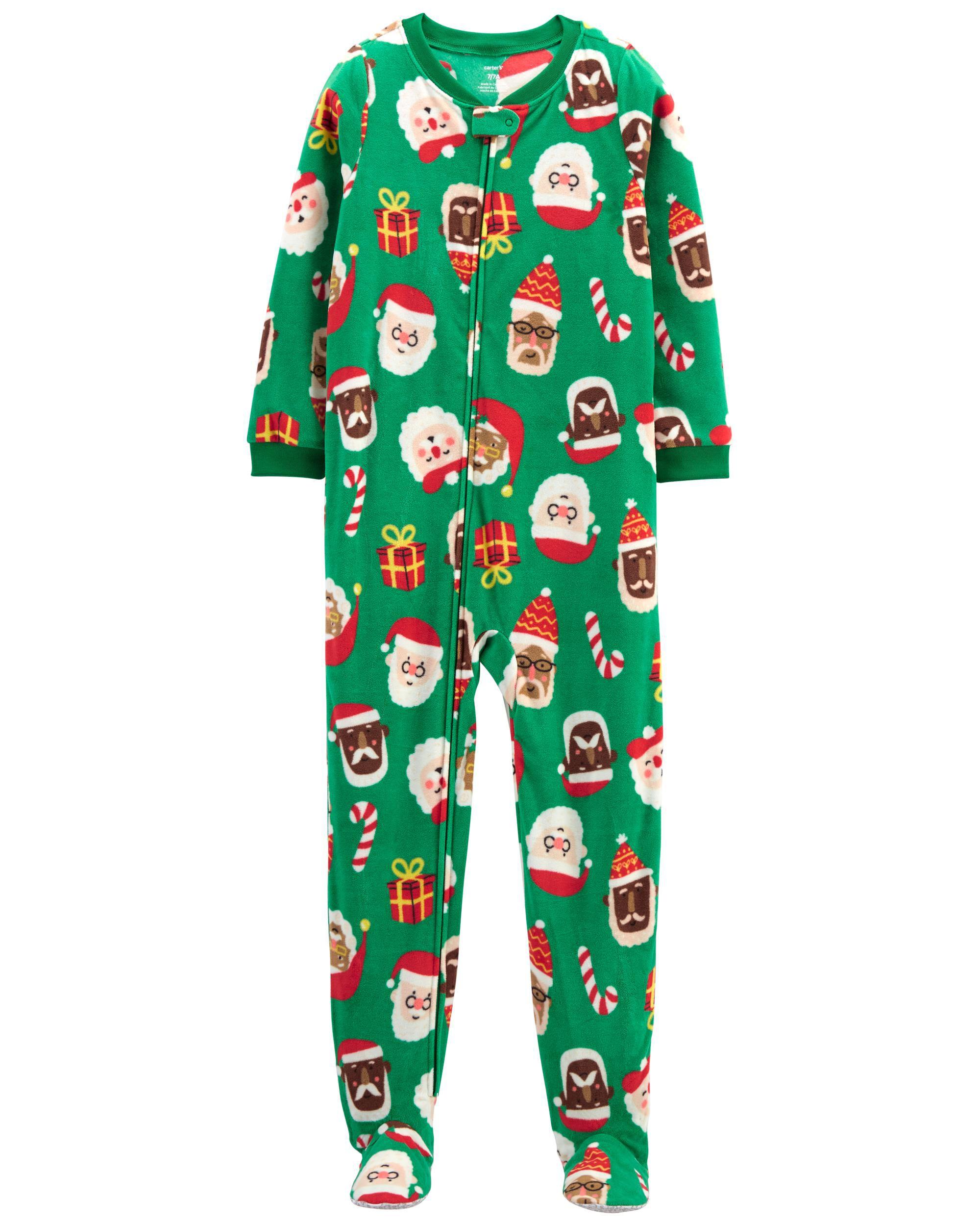 1-Piece Santa Fleece PJs