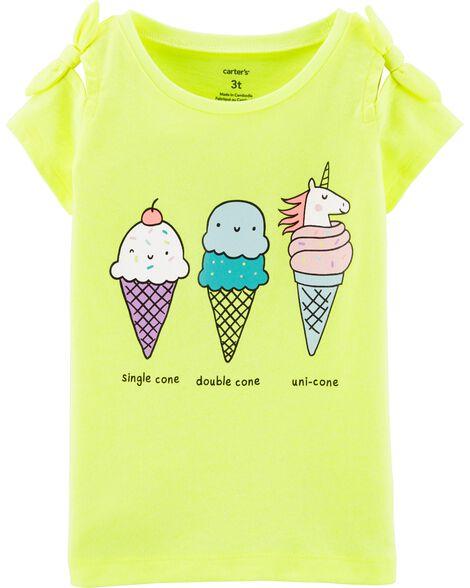 Toddler Girl Neon Unicorn Ice Cream Cone Tee Carters Com