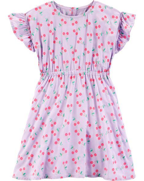 Ruffle Sleeve Cherry Dress
